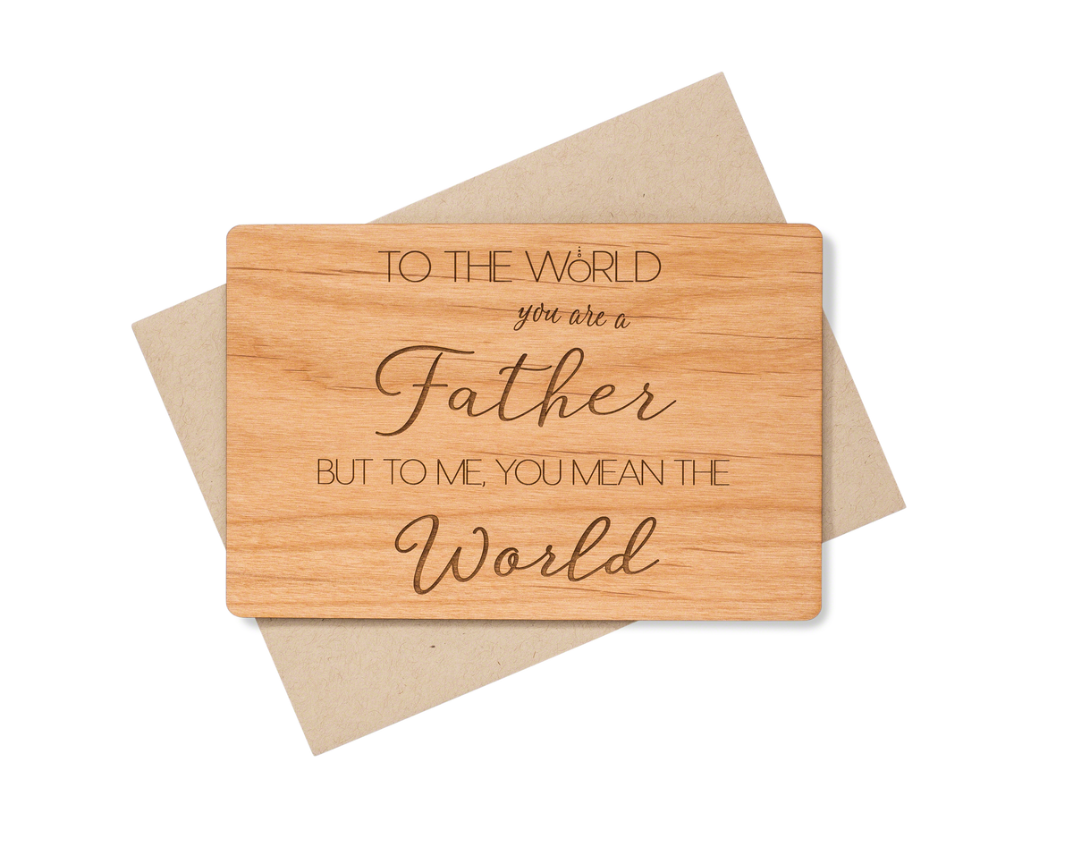 Fathers Day Greetings Wood Card Indigo Ember
