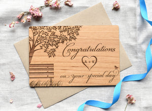 Wooden Wedding Card Congratulations