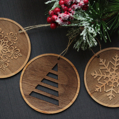 Wooden Christmas Tree Ornaments Set