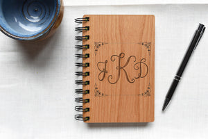 Personalized Writing Journal with Wood Covers