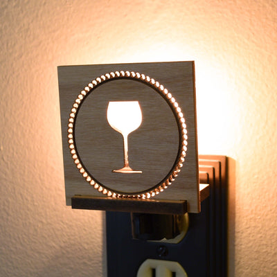 Anniversary Wine Glass Wood LED Interchangeable Night Light Starter Set