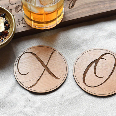 XO Round Wooden Drink Coasters  Set (Set of 2)
