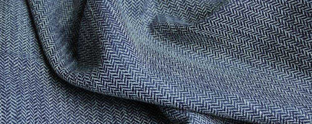 custom skirts fabric blue herringbone