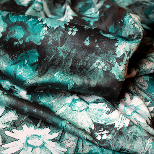custom skirts fabric blue-green floral