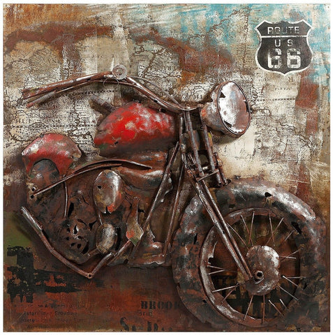 Delicieux Vintage Motorcycle Dimensional Wall Art, Route 66 Biker Picture 26500