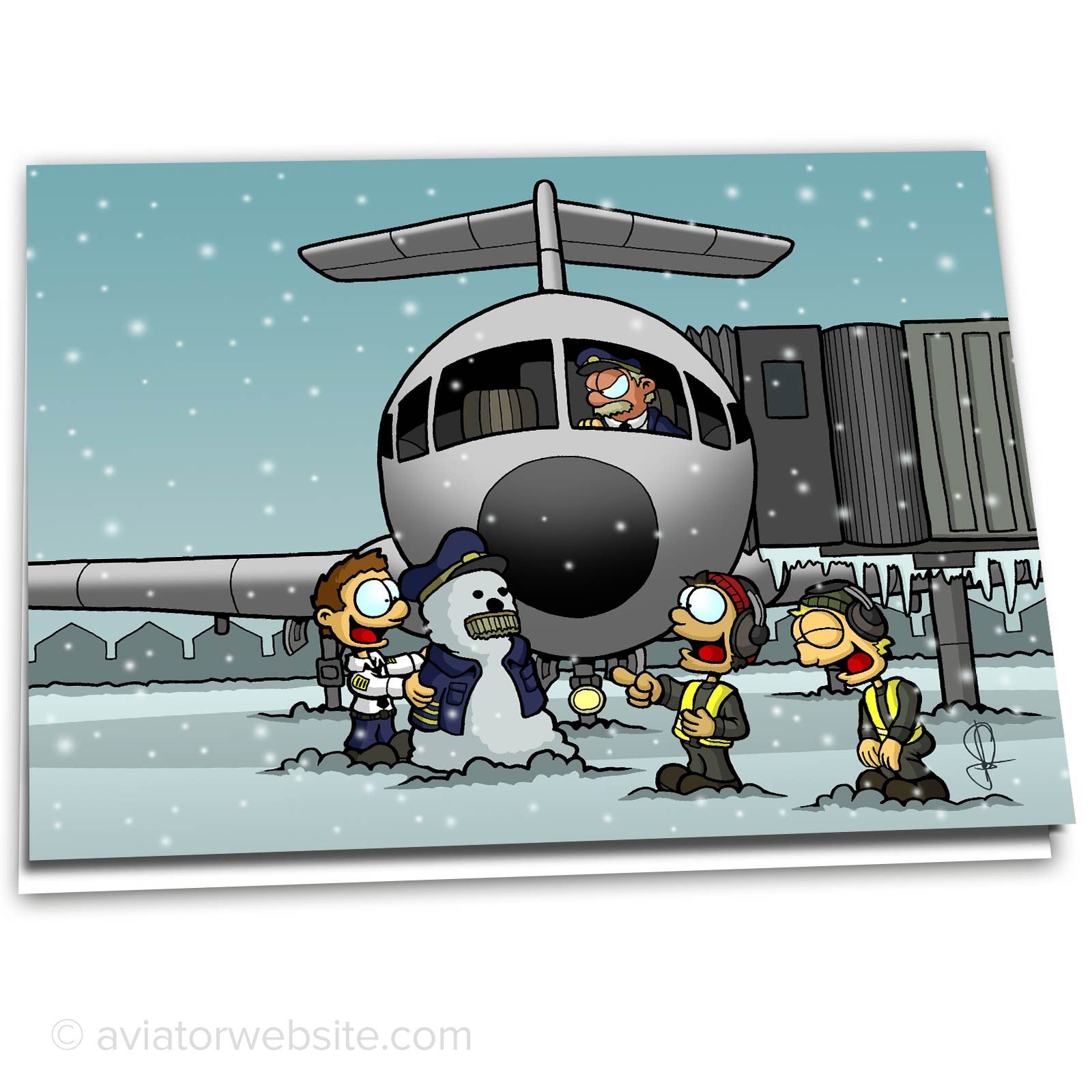 airline christmas card captain snowman - Airplane Christmas Cards