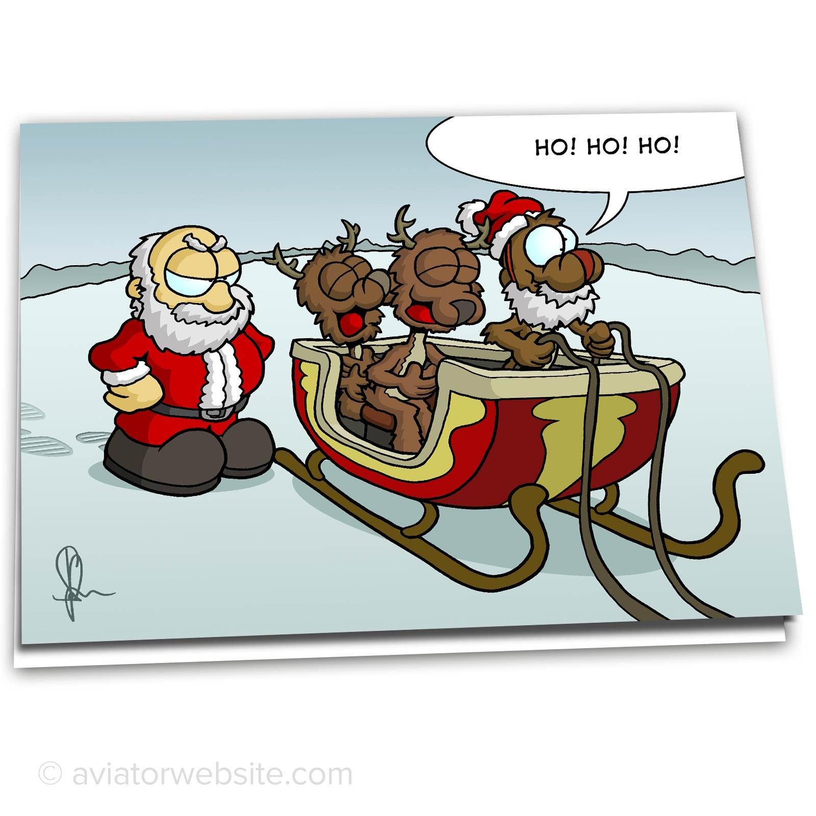 Funny Christmas Images.Funny Christmas Card Reindeer Mocking Santa 10 Cards