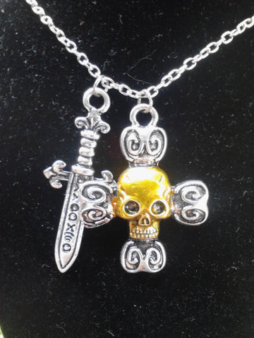Captain Hook's Skull & Blade Necklace