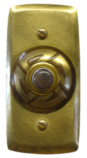 Rectangle Doorbell Brass W/ Brass Maze