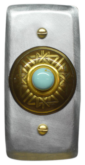 Rectangle Doorbell Aluminum W/ Brass Crystal