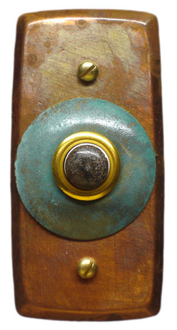 Rectangle Doorbell Copper W/ Copper Verde