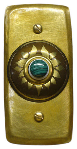 Rectangle Doorbell Brass W/ Brass Lotus