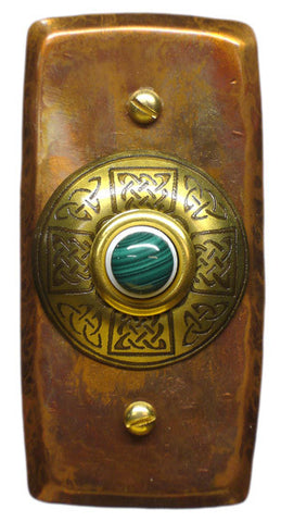 Rectangle Doorbell Copper W/ Brass Celtic