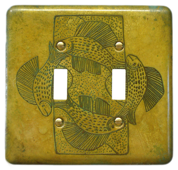 Etched Dbl. Brass Verde Fish