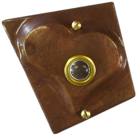 Doorbell Large Heart copper w/ Petrified Whalebone button