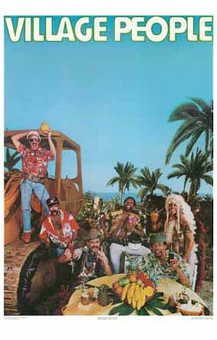 THE VILLAGE PEOPLE IN PARADISE! GO WEST 11x17 POSTER