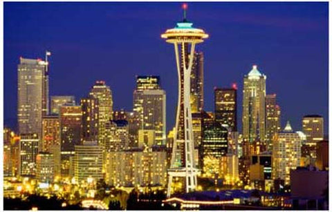 Seattle Washington at Night Space Needle 11x17 Poster