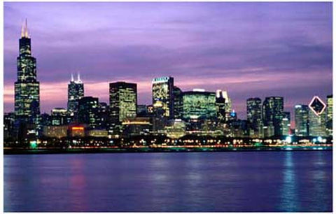 Chicago Skyline at Night Lake Michigan 11x17 Poster