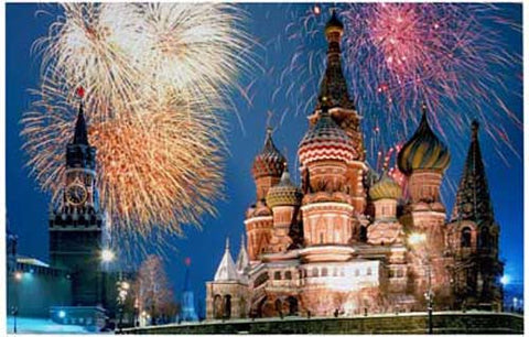 Fireworks Over the Kremlin Moscow Russia 11x17 Poster