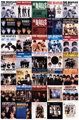 Beatles Picture Sleeve History 1962-1970 12x18 Poster