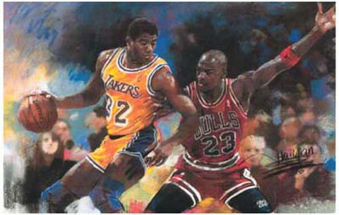 Michael Jordan Magic Johnson Basketball Poster
