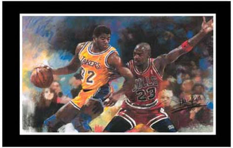 Magic Johnson Michael Jordan Poster