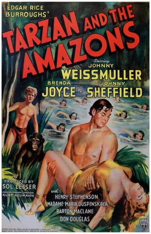 Tarzan and the Amazons Johnny Weissmuller 11x17 Poster