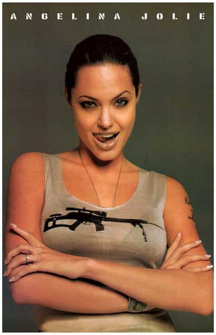 Angelina Jolie Machine Gun Tank Top 11x17 Poster