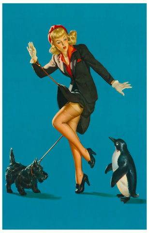 Dog Walker Pin-up Girl Chill Out! Pengiuin 11x17 Poster