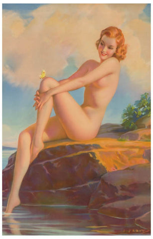 Sunbather Pin-up Girl Butterfly Sexy 11x17 Poster