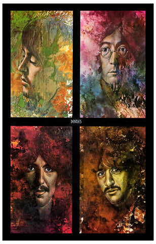 Beatles Let It Be Psychedelic 4 Pics Art 11x17 Poster