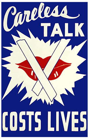 WWII Careless Talk Costs Lives Propaganda Poster