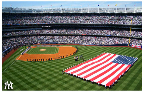 New York Yankee Stadium Flag Ceremony Poster
