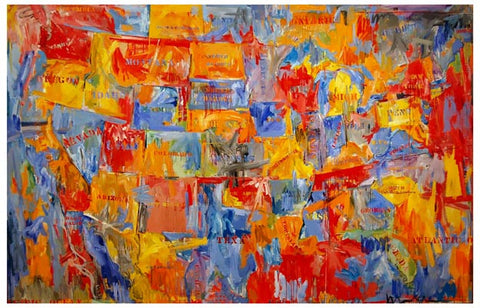 Jasper Johns Map United States Art 11x17 Poster