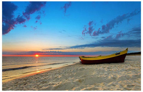 Beach Scene Boat and Sunset Tropical 11x17 Poster
