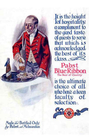 Pabst Blue Ribbon PBR Good Taste Beer Advertisement Poster 11x17