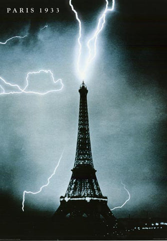 Paris Eiffel Tower Lightning Strike Poster