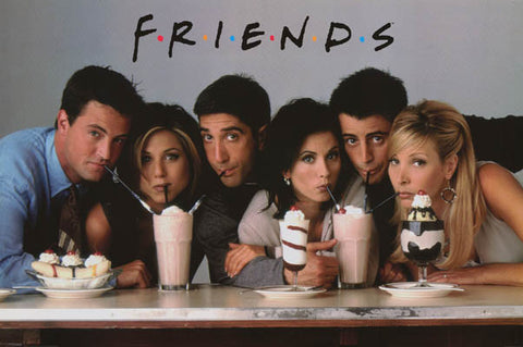 Friends Cast with Milkshakes Schwimmer Cox 24x36 Poster