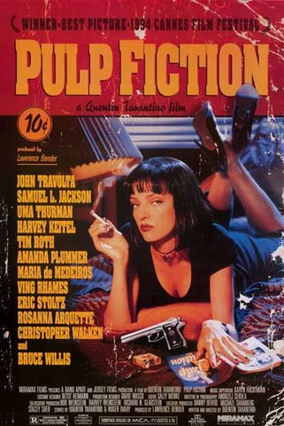 Pulp Fiction Uma On Bed Giant Tarantino 40x55 Poster