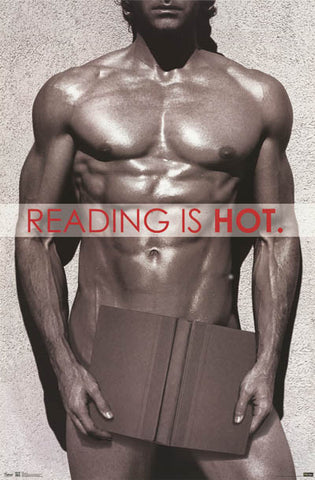 Reading Is Hot Sexy Male Torso Model Poster 22x34