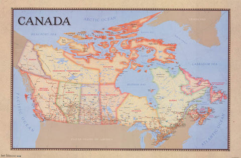 Political Map of Canada Poster