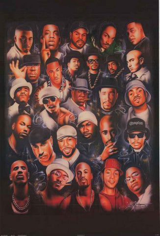 Rap Icons Hip Hop Hall of Fame Poster