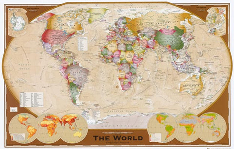 Map of the World Winkel Tripel Projection 24x36 Poster