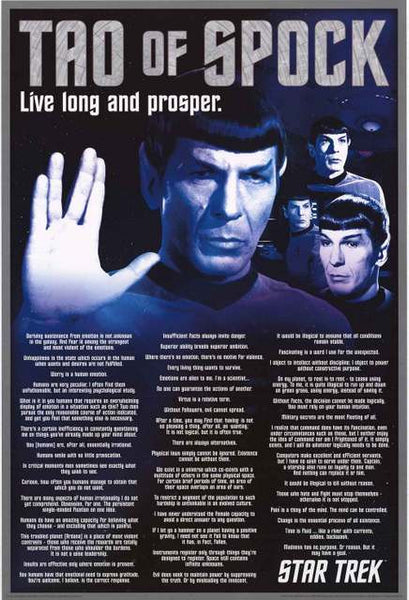 Spock Quotes Live Long And Prosper: Star Trek Tao Of Spock Poster 24x36