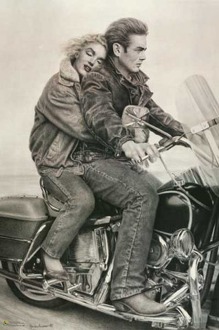 James Dean Marilyn Monroe Motorcycle Poster