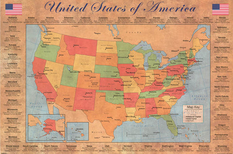 Map of the United States Wall Poster