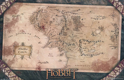 The Hobbit Map of Middle Earth Poster