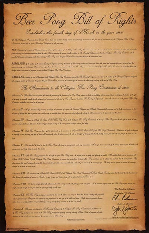 Beer Pong Bill of Rights Drinking Games 24x36 Poster