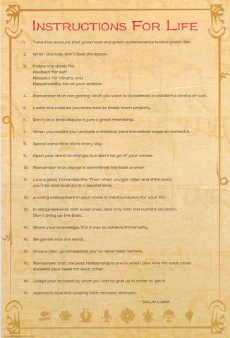 Dalai Lama Instructions for Life Poster