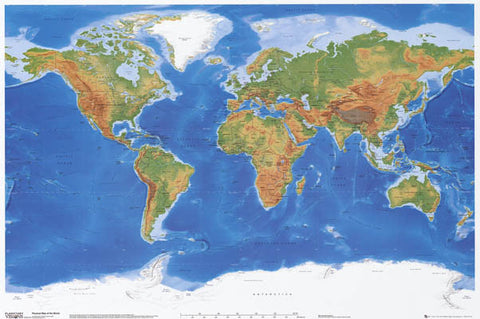 Physical Geography World Map Poster